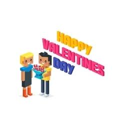 Happy Valentine Day Couple 3d Isometric vector image