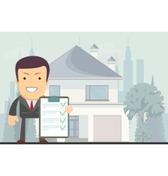 Realtor offers to rent or buy a house vector image