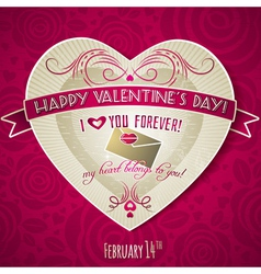 red valentines day greeting card with red heart vector image vector image