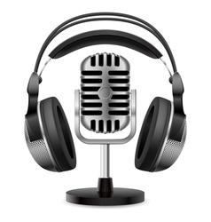 retro microphone headphones vector image vector image