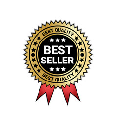 best seller and quality medal golden seal with red vector image