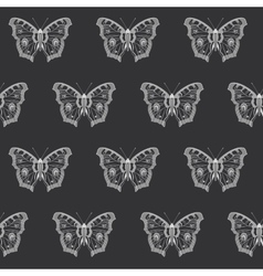 Butterfly black and white seamless pattern vector image vector image
