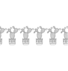 cacti succulents black and white vector image