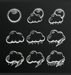 chalkboard collection clouds icon sketch cloud vector image