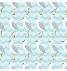 Seamless pattern with heron on blue wave vector image vector image