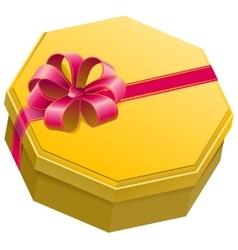 Yellow gift box with ribbon and bow vector image vector image