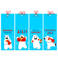 christmas shopping tags with polar beer labels vector image vector image