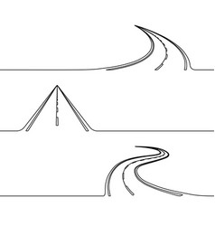 continuous line drawing of the road vector image