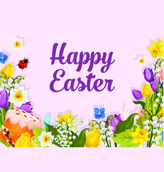 Easter greeting card with egg cake and flower vector