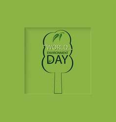 tree on a green background world environment day vector image
