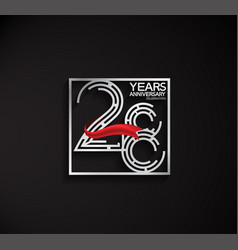 28 years anniversary logotype with square silver vector
