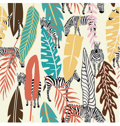 Abstract color tropical leaves zebra background vector