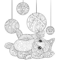 Adult coloring bookpage a cute cat with vector