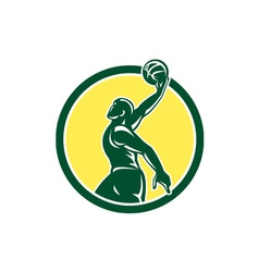 Basketball Player Dunk Ball Circle Retro vector image