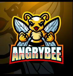 Bee mascot esport logo design vector