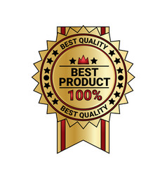 best product quality sticker golden medal with vector image