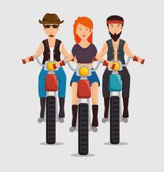 Biker culture bikers riding motorbikes vector