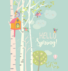 birch tree and birdhouse with little birds in vector image