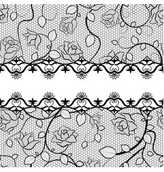 Black lace seamless pattern with roses vector