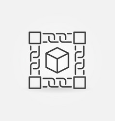block chain technology concept icon in thin line vector image