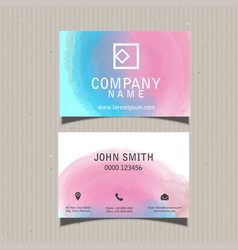 Business card with watercolour design vector