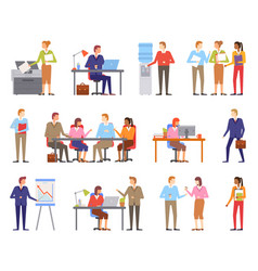 Business people males and females working vector