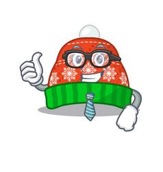 Businessman winter hat in mascot shape vector