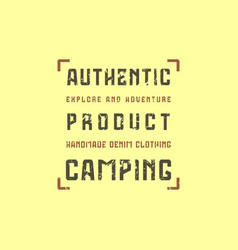 Camping typographic emblem with rough texture vector