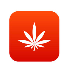 cannabis leaf icon digital red vector image