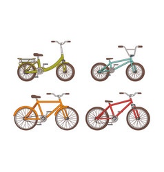 Cartoon bicycles collection vector