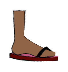 Cartoon foot with flip flops beach vector