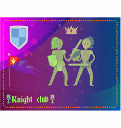 cartoon knights in full armor fighting club flag vector image