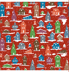 Christmas Snowy Village Calm scene Snowfall vector image
