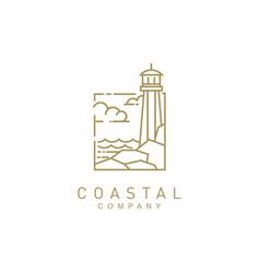 coastal beach with lighthouse logo design vector image
