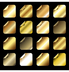 Collection of golden gradient icons vector