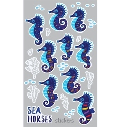 collection stickers with cute seahorses cartoon vector image