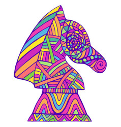 Colorful knight chess piece with decorative vector