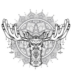 contour native a moose head with vector image