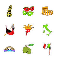 country italy icons set cartoon style vector image