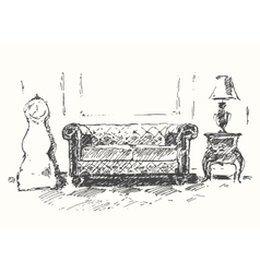 Cozy room sofa drawn sketch vector image