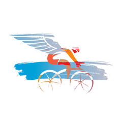 Cyclist with wings expressive stylized vector