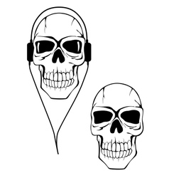 Danger human skull in headphones vector image