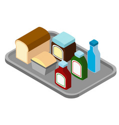 Different food on the tray vector