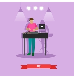 DJ plays on a party in flat vector image