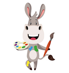 donkey with color palette on white background vector image