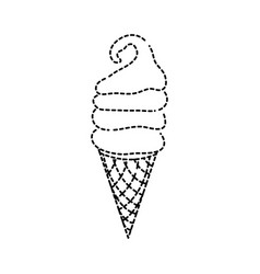 Dotted shape sweet ice cream in the cornet vector
