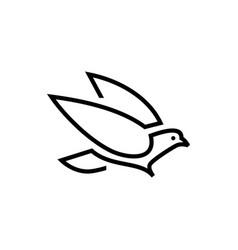 dove monoline logo icon vector image