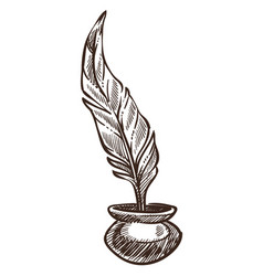 feather and ink pot isolated sketch ancient vector image