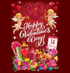 February 14 valentines day symbols love vector