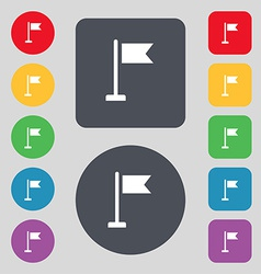 flag icon sign A set of 12 colored buttons Flat vector image